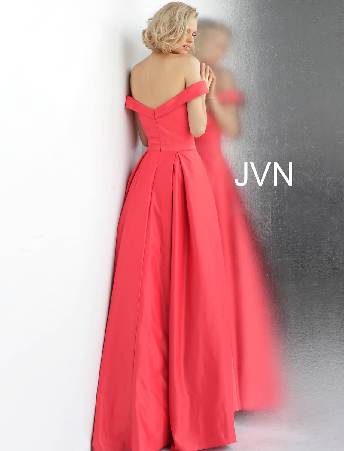 27d28a16bef Cherry off the shoulder ruched bodice bridesmaids ballgown.