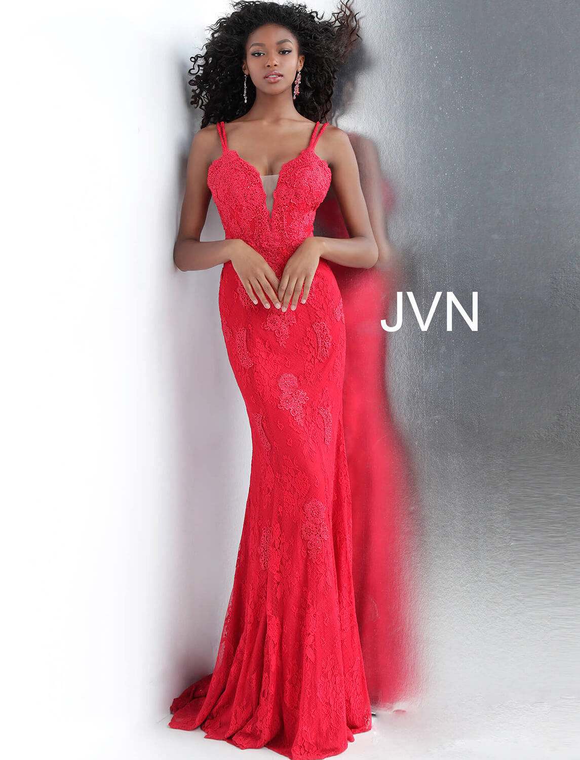 Red Fitted Plunging Neckline Lace Prom Dress JVN66971 60d93cd2d
