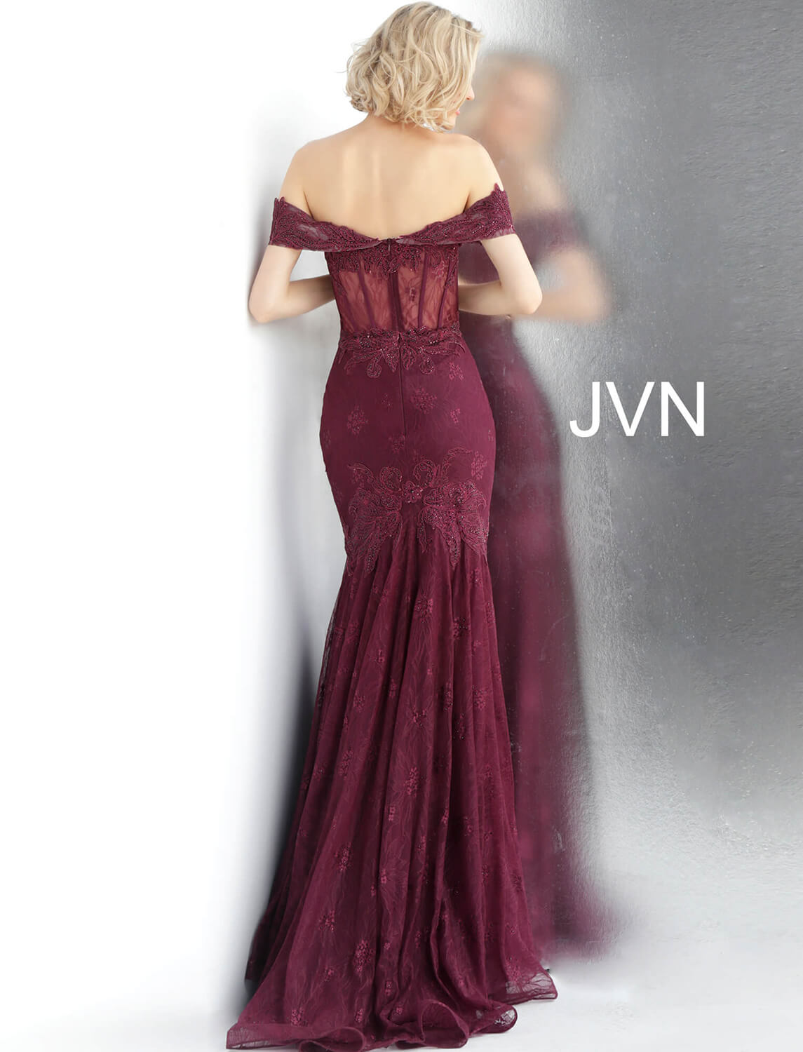 d0db3e2f0ac6 Bordeaux Embroidered Off-the-Shoulder Sweetheart Corset Prom Dress