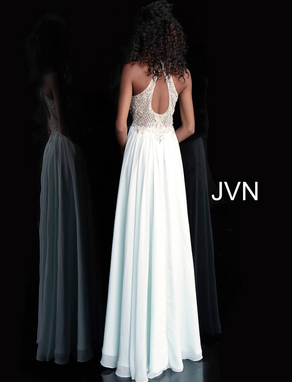 618cde12cf2be Mint long flowy beaded sheer bodice chiffon prom dress.