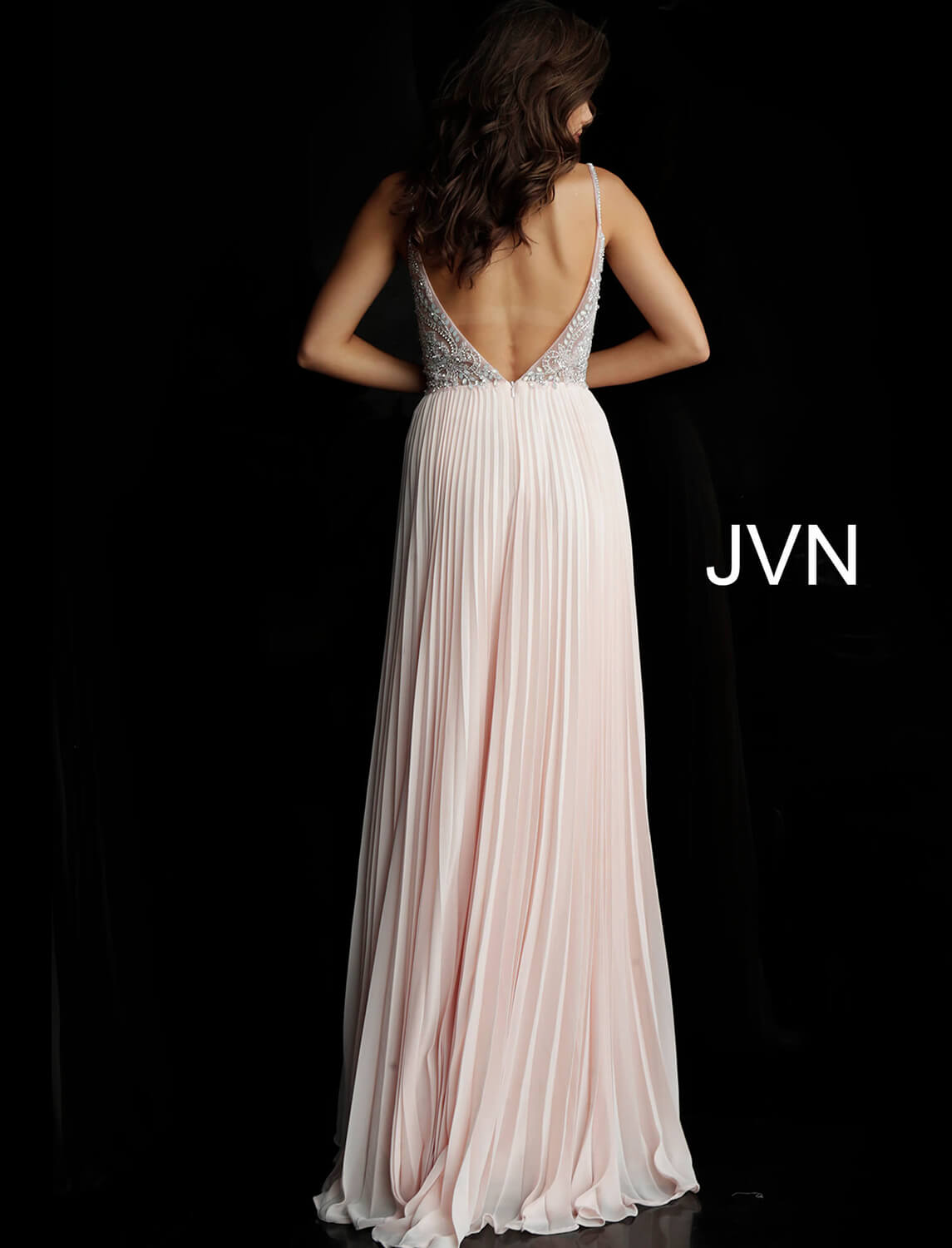 97c55ed97ad Blush long flowy pleated chiffon embellished sheer bodice dress.