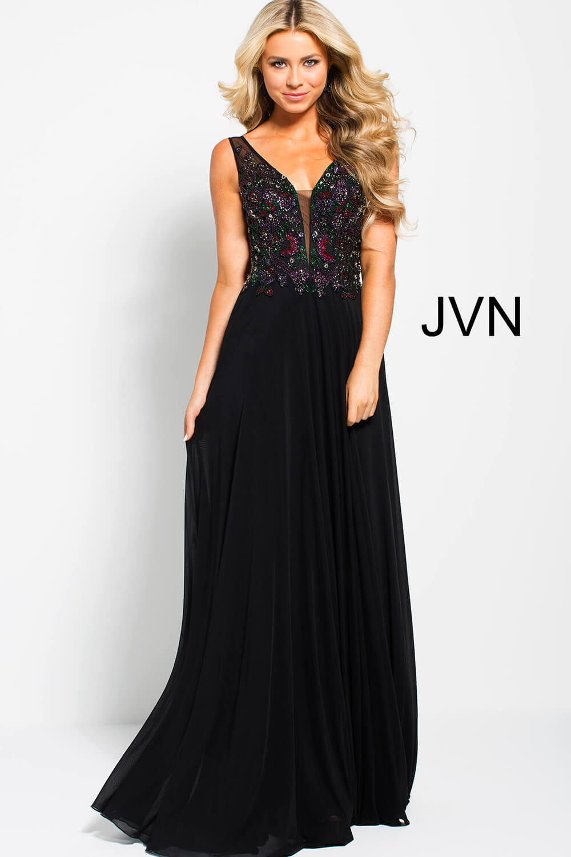 Black long flowy plunging neckline with mesh v back prom dress. 0392943cb