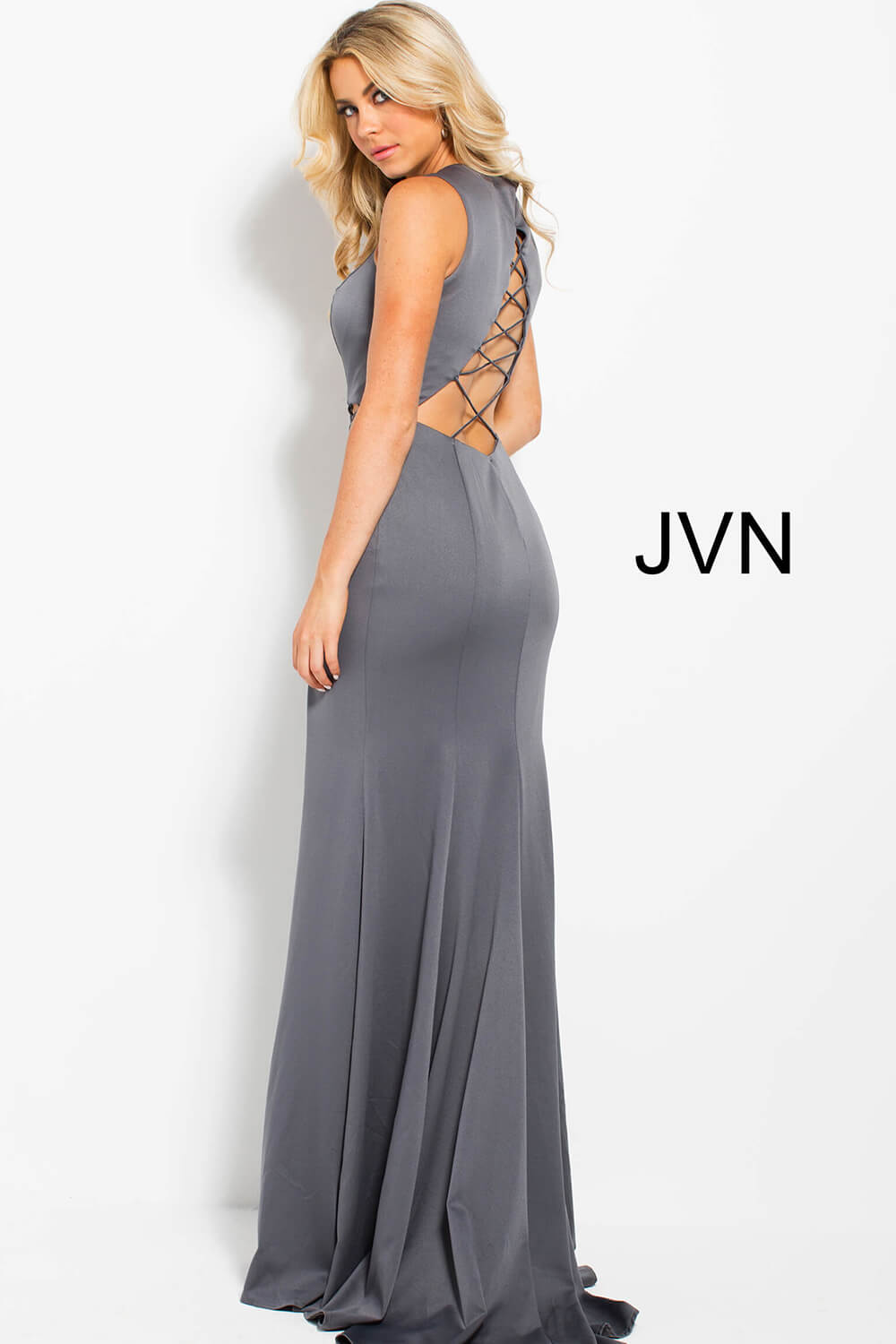 428ef026ae397 Grey long fitted sleeveless high slit cut outs prom dress with train.