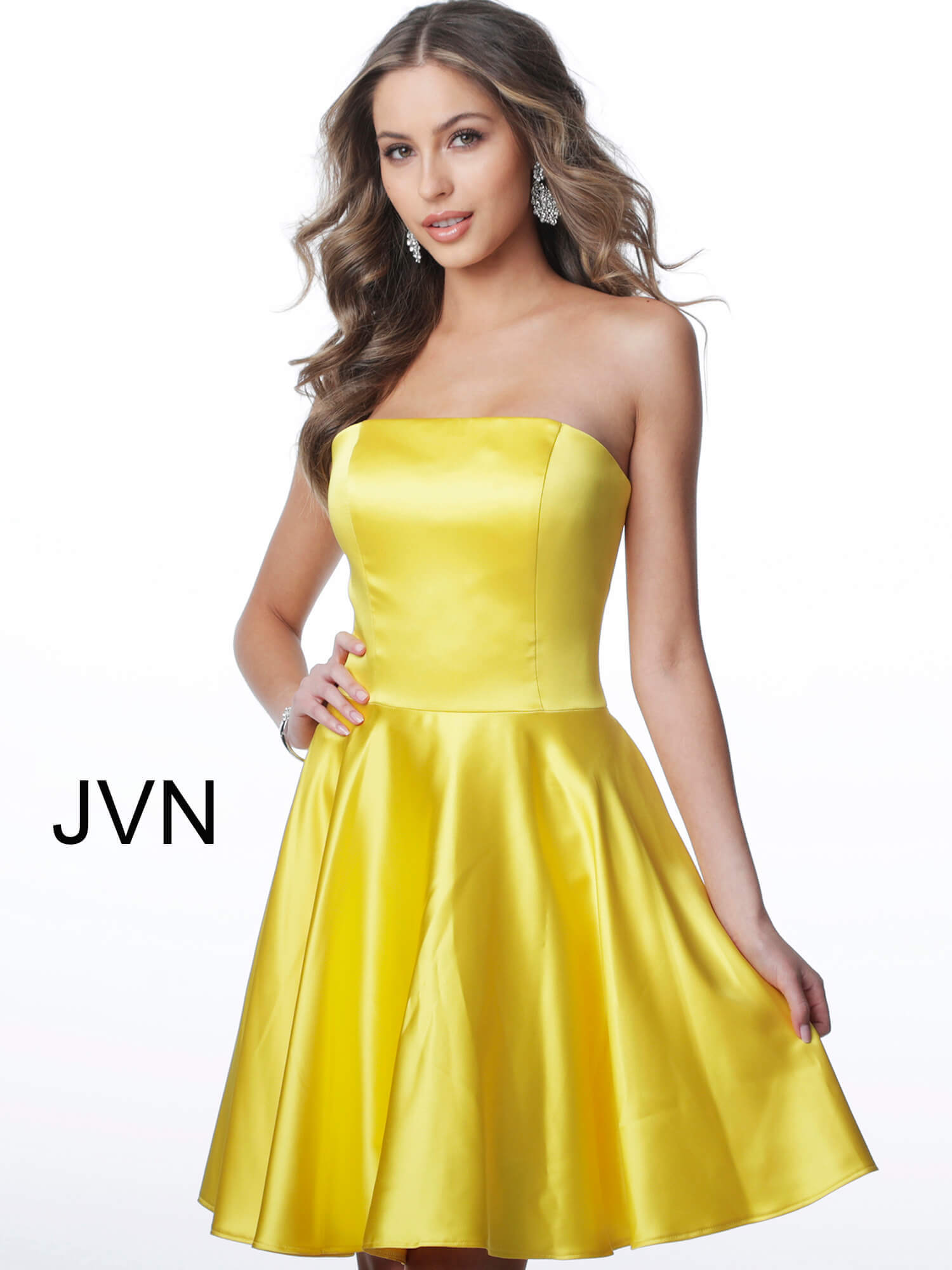 JVN1717 Dress | Yellow short fit and
