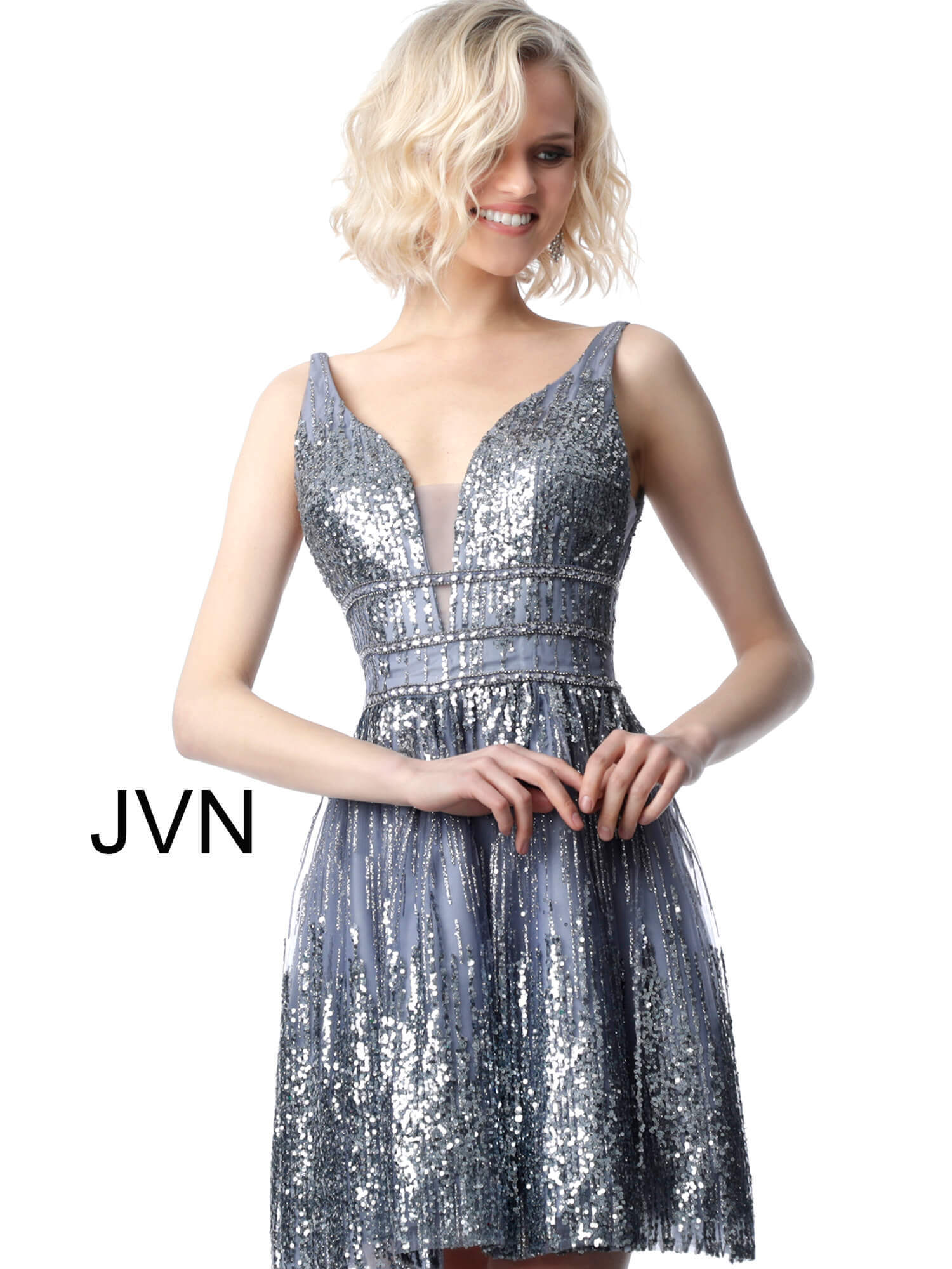 ed86b7b8cd Grey short fit and flare glitter fabric plunging neckline cocktail dress  jvn4762.