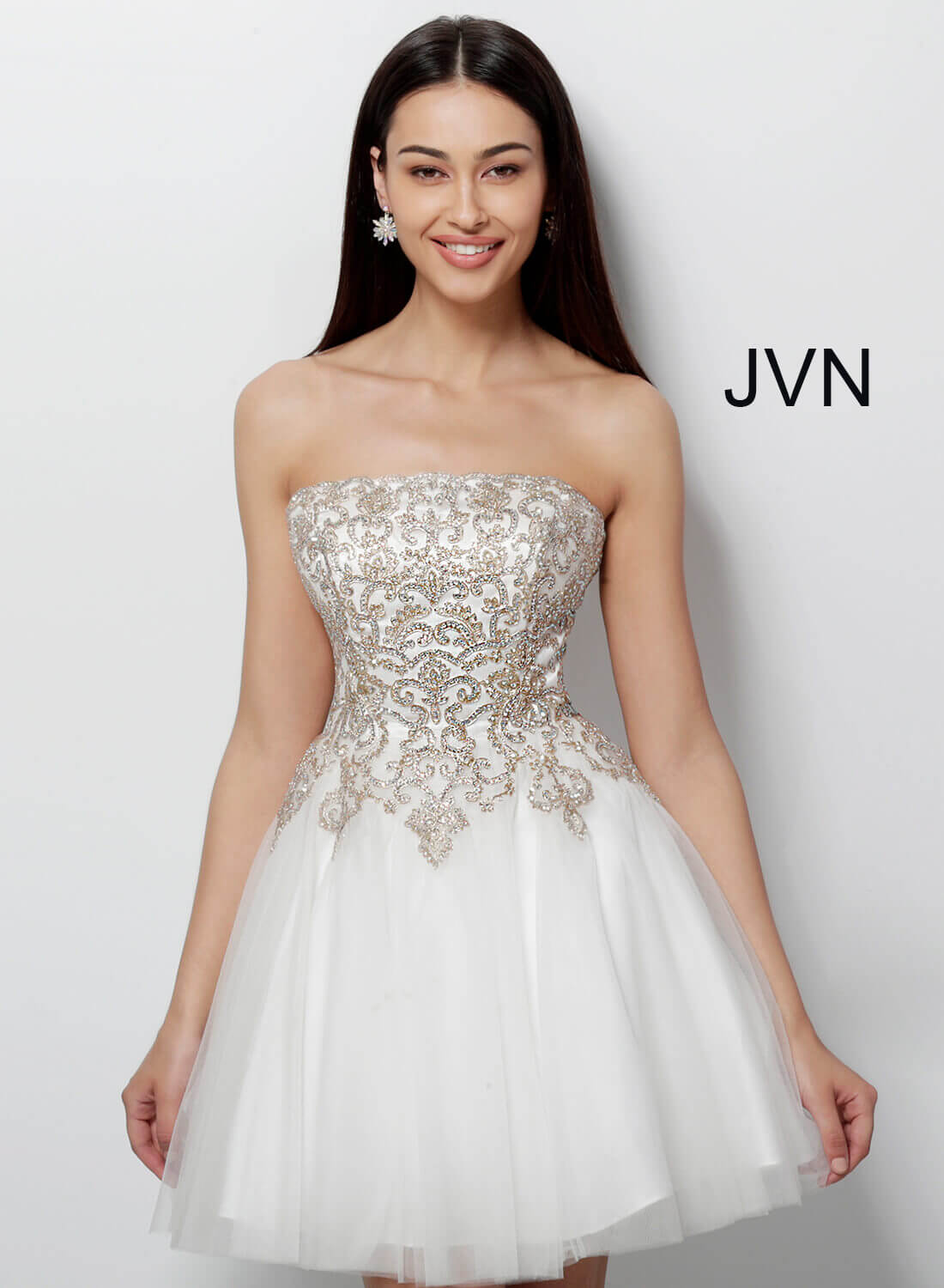 Off White Gold Short Fit And Flare Strapless Straight Neckline Dress
